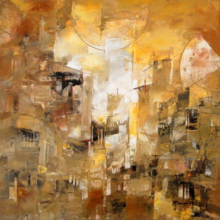 Untitled by Rakesh Mandal, Abstract Painting, Acrylic on Canvas, Brown color
