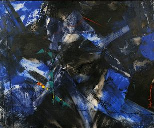 SPACE DILUTION by Yuvika Brahmawar, Abstract Painting, Acrylic on Canvas, Blue color