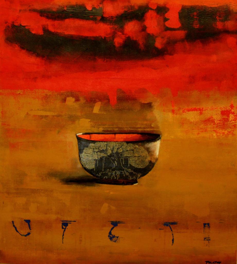 Bhiksham Dehi II by Pratap SJB Rana, Decorative, Impressionism Painting, Mixed Media on Canvas, Brown color
