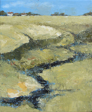 Landscape-2 by Animesh Roy, Impressionism Painting, Oil on Linen, Beige color