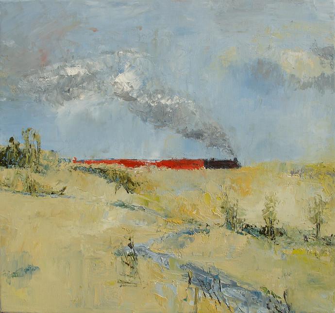 'লালগোলা এক্সপ্রেস' ('Lalgola Express') Memories from my childhood by Animesh Roy, Impressionism Painting, Oil on Linen, Beige color