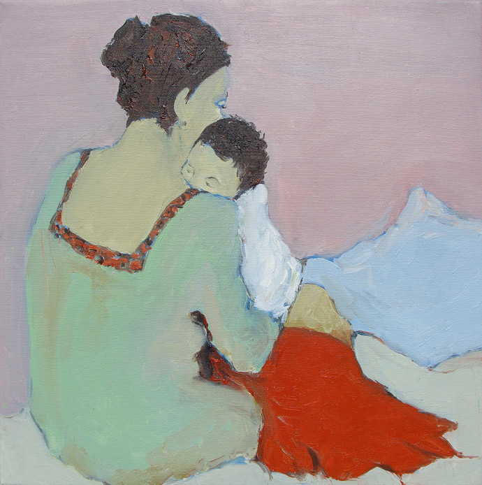 माँ और शिशु (Ma & Child) by Animesh Roy, Impressionism Painting, Oil on Linen, Pink color