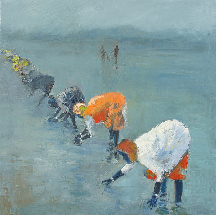Women Planting Rice Paddies, India by Animesh Roy, Impressionism Painting, Oil on Linen, Green color
