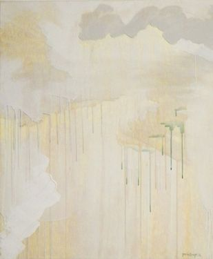 untitled(buff-4). by Tarini Ahuja, Abstract Painting, Acrylic on Canvas, Beige color
