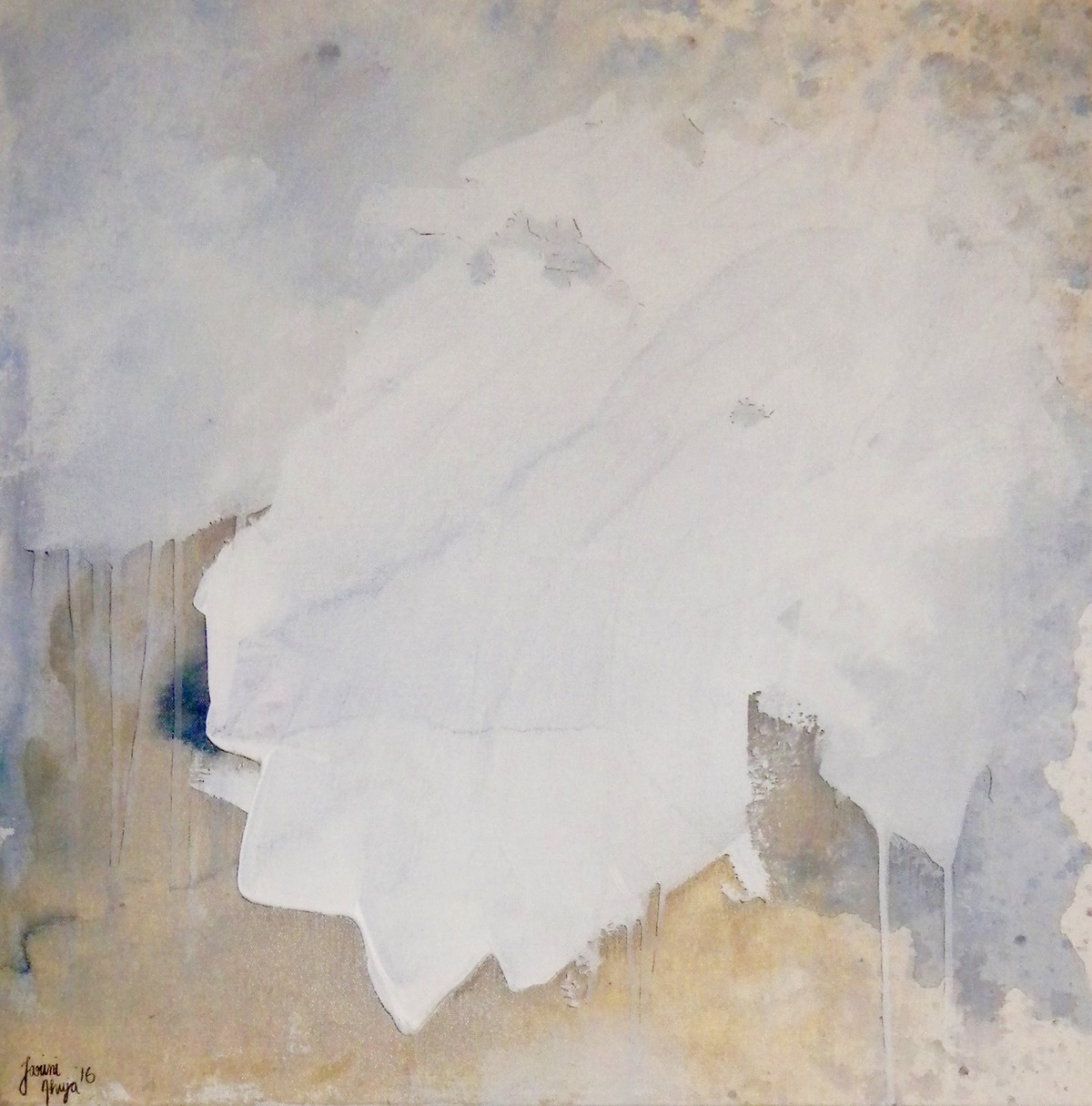 untitled(buff-2). by Tarini Ahuja, Abstract Painting, Acrylic on Canvas, Gray color
