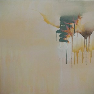 untitled (thirds-1) by Tarini Ahuja, Abstract Painting, Acrylic on Canvas, Beige color