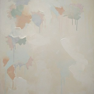 untitled (thirds-2). by Tarini Ahuja, Abstract Painting, Acrylic on Canvas, Beige color