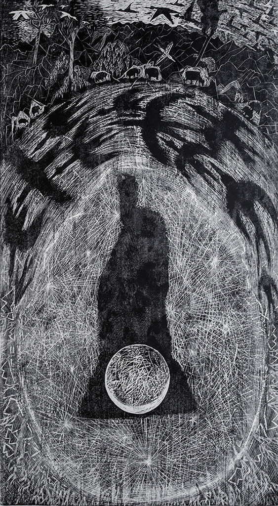 between you and me by Vijay Pichumani, Expressionism Printmaking, Wood Cut on Paper, Gray color