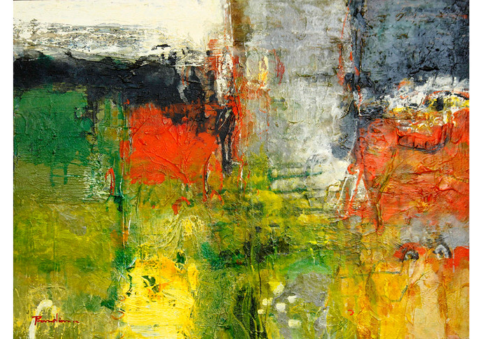 Untitled I by T. Athiveera Pandian, Abstract Painting, Acrylic on Canvas, Green color