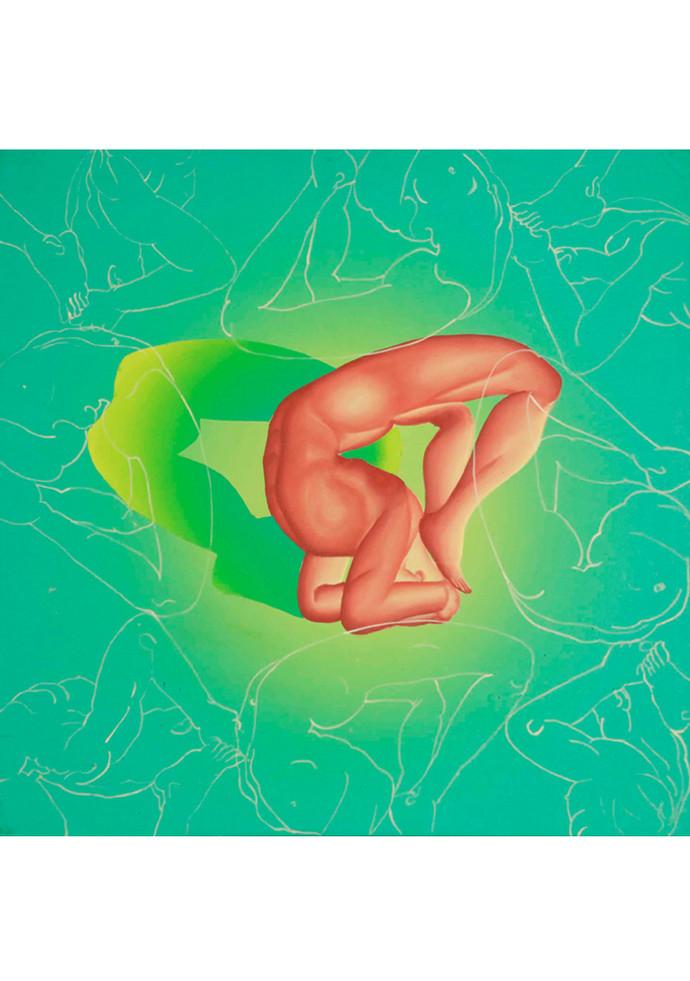 Yogi I by B O Shailesh, Impressionism Painting, Acrylic on Canvas, Green color