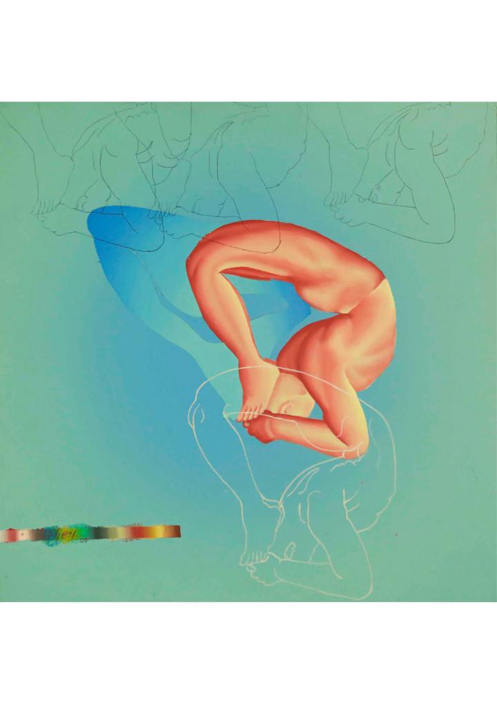 Yogo II by B O Shailesh, Impressionism Painting, Acrylic on Canvas, Cyan color