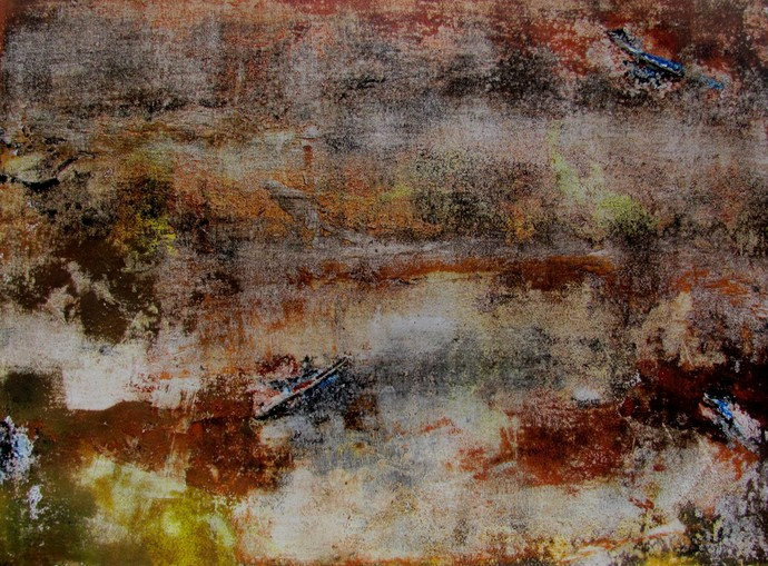 Untitled by Ajay Chakradhar, Abstract Painting, Mixed Media on Paper, Brown color