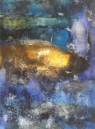 Untitled by Ajay Chakradhar, Abstract Painting, Mixed Media on Canvas, Green color
