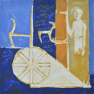 Satya by Haku Shah, Expressionism Printmaking, Serigraph on Paper, Blue color