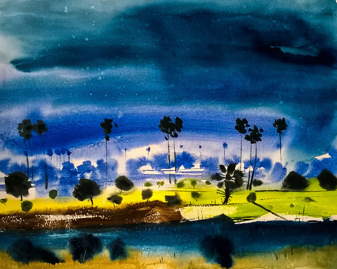 thirst by Santosh Keshari , Impressionism Painting, Watercolor on Paper, Blue color