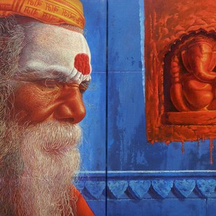 sadhu by Anil Kumar Yadav, Expressionism Painting, Acrylic on Canvas, Brown color