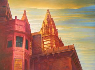 Varanasi Ghat by Anil Kumar Yadav, Impressionism Painting, Acrylic on Canvas, Brown color