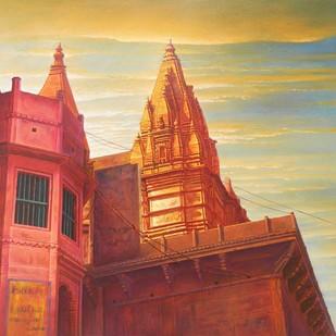 Varanasi Ghat by Anil Kumar Yadav, Impressionism Painting, Acrylic on Canvas, Brown color