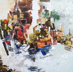 Banaras 22-2016 by Anand Narain, Abstract Painting, Oil on Canvas, Brown color