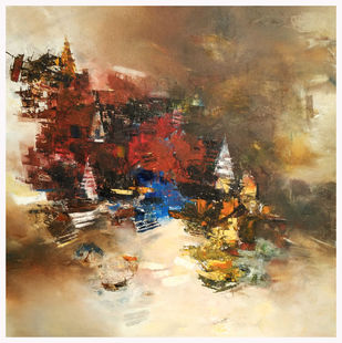 Banaras 10-2015 by Anand Narain, Abstract Painting, Oil on Canvas, Brown color