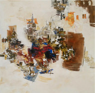 Banaras 23-2016 by Anand Narain, Abstract Painting, Oil on Canvas, Beige color