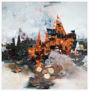 Banaras 1-2015 by Anand Narain, Impressionism Painting, Oil on Canvas, Gray color