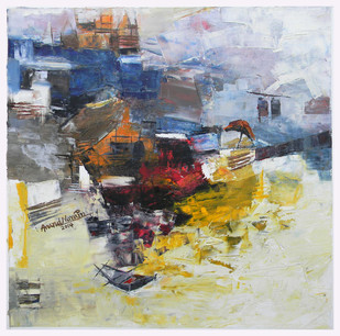 Banaras 2-2014 by Anand Narain, Abstract Painting, Oil on Canvas, Beige color