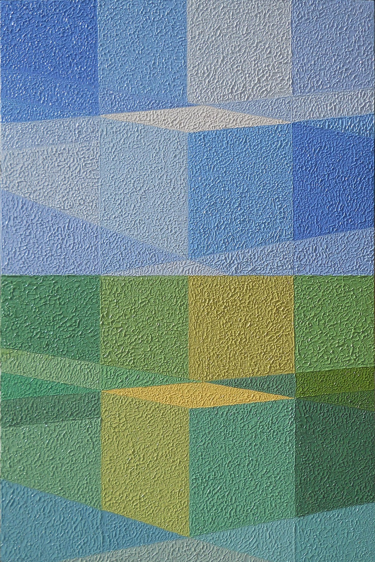 CUBIC SCAPE by S.P.Verma, Abstract Painting, Oil on Canvas Board, Green color