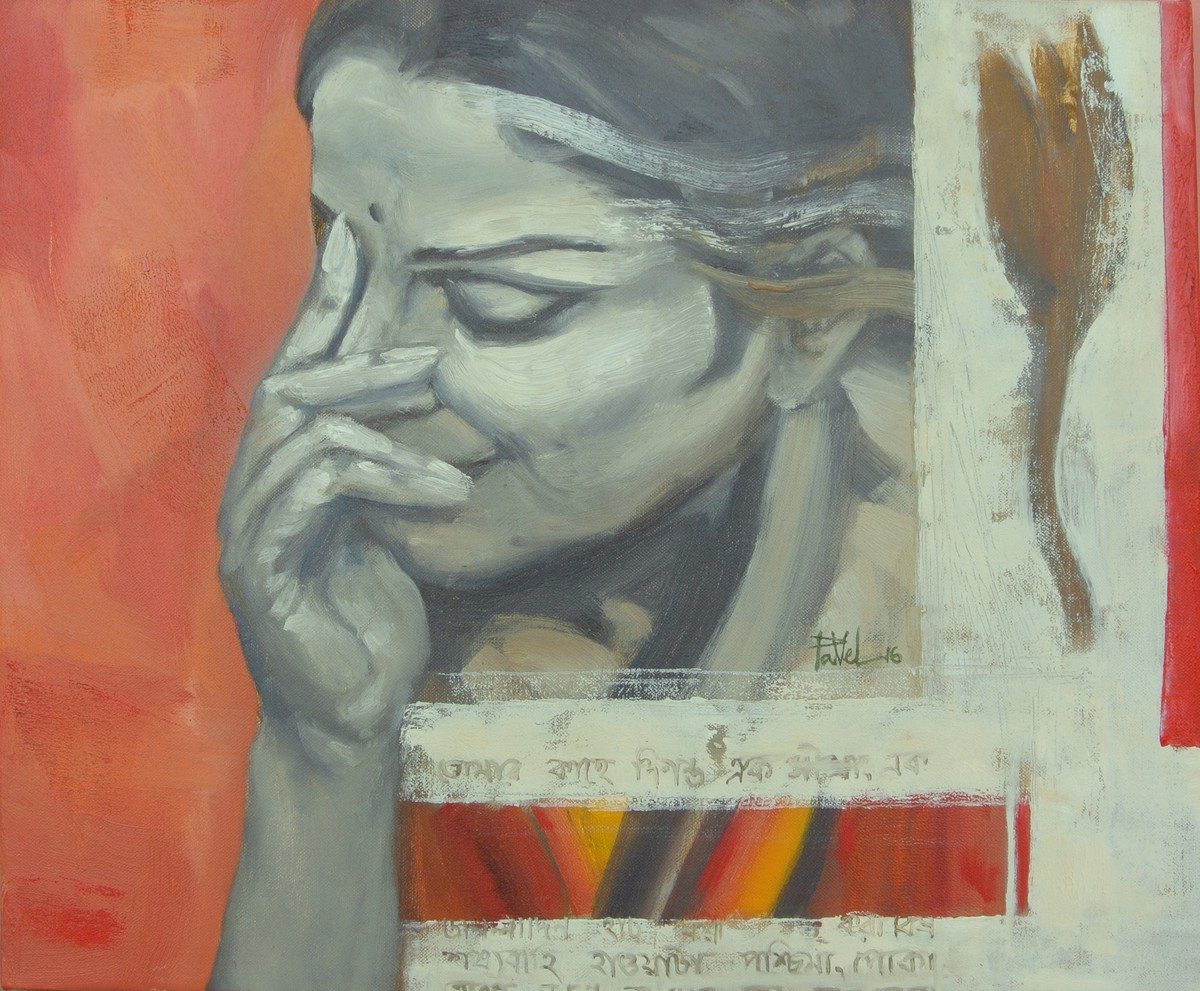 You are in my single note 6 by Pavel Banerjee, Decorative Painting, Oil on Canvas, Brown color