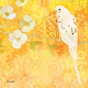 Budgie & Cartouche I Digital Print by Evelia Designs,Decorative