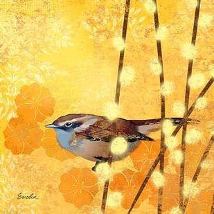 Wren on Yellow I Digital Print by Evelia Designs,Decorative