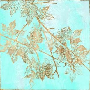 Aqua & Gold Maple I Digital Print by Goldberger, Jennifer,Decorative