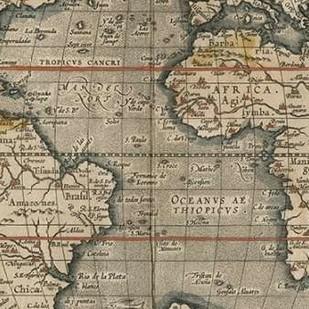 Antique World Map Grid V Digital Print by Vision Studio,Decorative