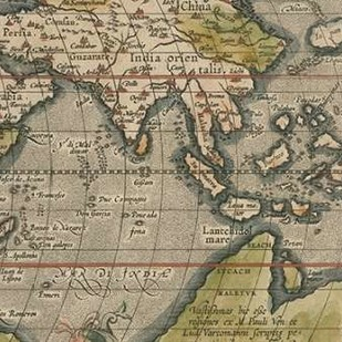 Antique World Map Grid VI Digital Print by Vision Studio,Decorative