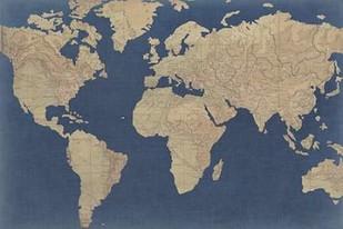 Linen Map I Digital Print by Studio W,Decorative