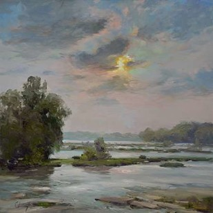 James River from Belle Isle II Digital Print by Larivey, Chuck,Impressionism