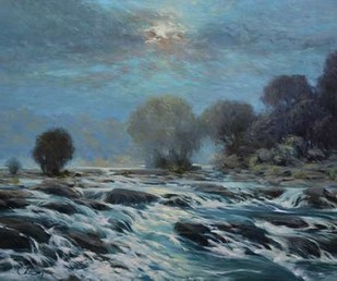 Moon Rapids Digital Print by Larivey, Chuck,Impressionism