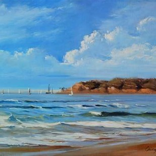 Point Loma - View from Coronada Shores Digital Print by Larivey, Chuck,Impressionism