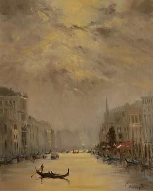 Venice Evening Gold Digital Print by Larivey, Chuck,Impressionism