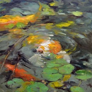 Golden Koi Digital Print by Larivey, Chuck,Impressionism