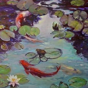 Red Koi & Lilies Digital Print by Larivey, Chuck,Impressionism