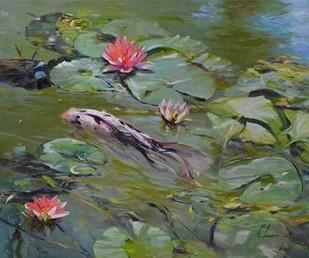 Koi & Lilies III Digital Print by Larivey, Chuck,Impressionism