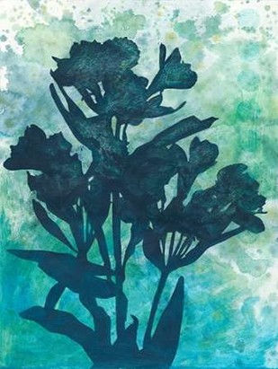 Indigo Floral Silhouette I Digital Print by Meagher, Megan,Decorative