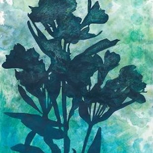 Indigo Floral Silhouette I Digital Print by Meagher, Megan,Decorative