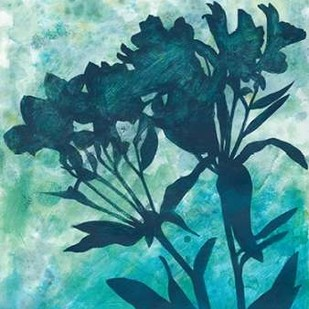 Indigo Floral Silhouette II Digital Print by Meagher, Megan,Decorative