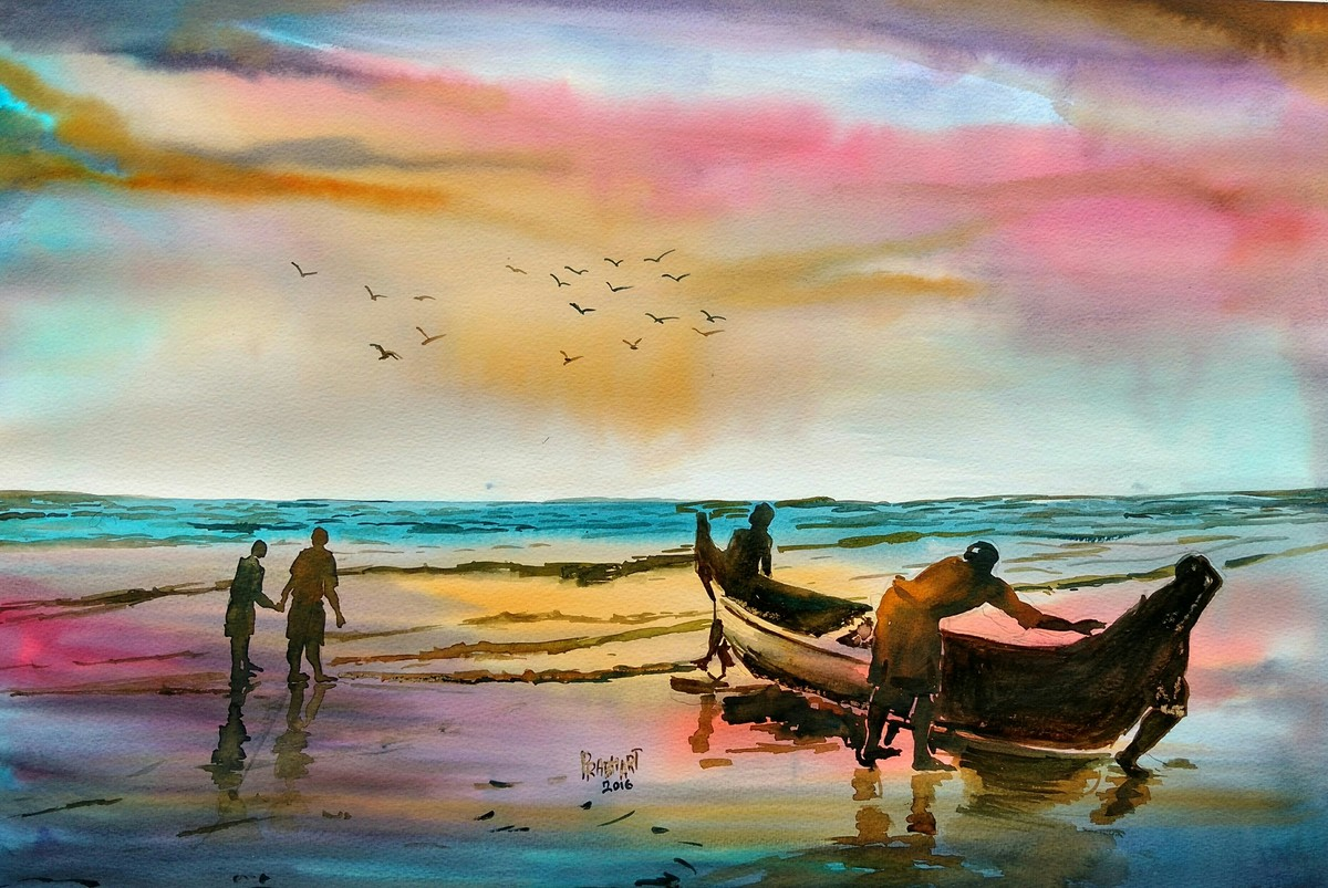 The sea at sunset by Prabhakaran, Impressionism Painting, Watercolor on Paper, Beige color