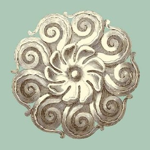 Celadon and Mocha Rosette I Digital Print by Vision Studio,Decorative