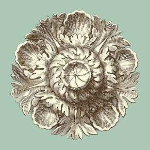 Celadon and Mocha Rosette III Digital Print by Vision Studio,Decorative