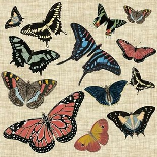 Butterflies and Linen I Digital Print by Vision Studio,Decorative
