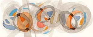 Sepia & Orange Circles Digital Print by Galapon, Nikki,Abstract